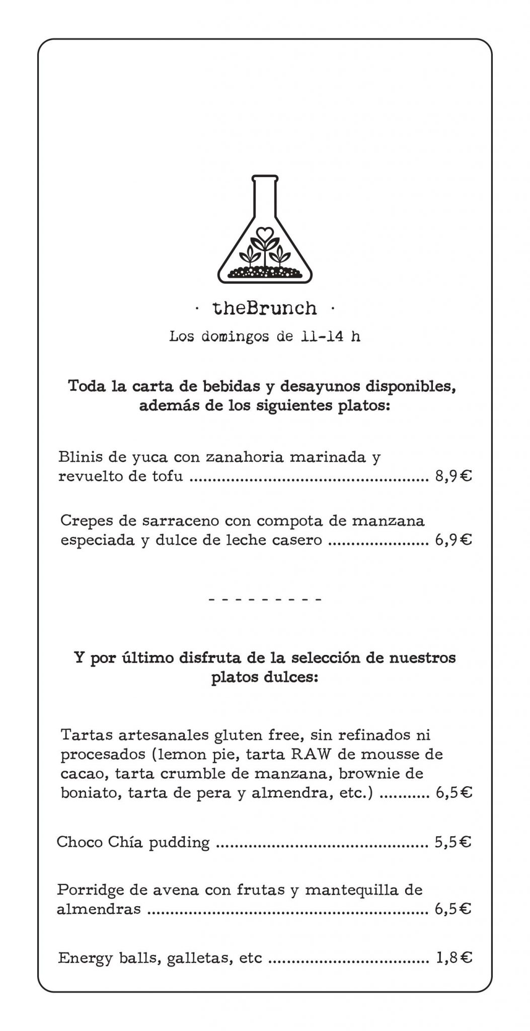 carta brunch vegano theveggielab
