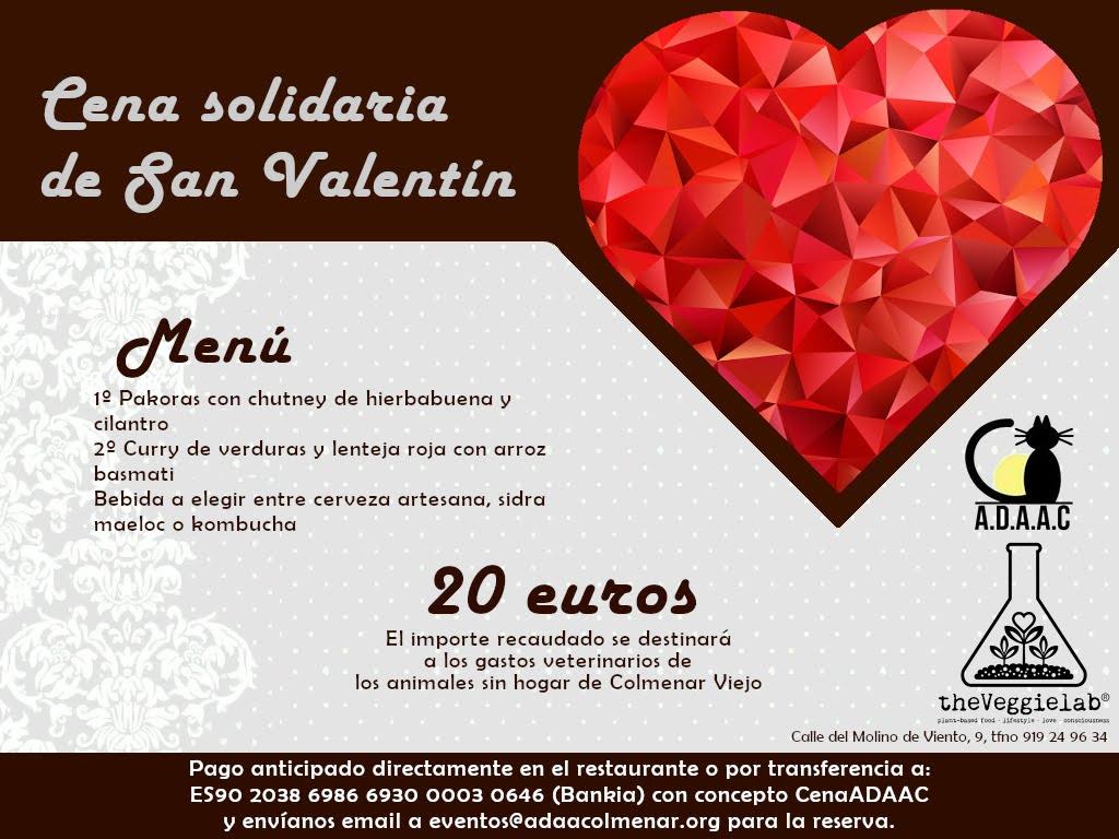 Cena solidaria de san valentín para ayudar a los anmales sin hogar de colmenar viejo